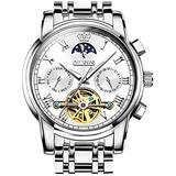 OLEV.S Watch Skeleton Mechanical Automatic White dial Mens Winding Date Moon Phase Waterproof Stainless Steel White Dial Watches for Men Automatic