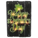 """Northlight Seasonal 17"""" Lighted Happy St.Patrick's Day Window Silhouette Decoration Glass in Black/Green, Size 17.0 H x 1.0 W x 11.5 D in 