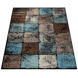Wrought Studio™ Keneipp Geometric Turquoise/Area Rug Polypropylene/Jute & Sisal in Brown, Size 55.0 W x 0.31 D in | Wayfair