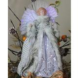 Northlight Seasonal Angel Christmas Tree Topper in Gingham Coat Fabric in Gray/Yellow, Size 16.0 H x 9.0 W x 5.0 D in   Wayfair 32623769