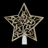 """Northlight Seasonal 10"""" Lighted Battery Operated Wooden Star Christmas Tree Topper - Clear Lights Wood in Brown, Size 10.0 H x 8.5 W x 1.5 D in"""