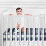 Sweet Jojo Designs Buffalo Fitted Crib Sheet Flannel in Blue, Size 28.0 W x 52.0 D in | Wayfair CribSheet-BuffaloCheck-NV-WH-PRT