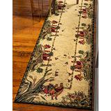 Unique Loom Barnyard Collection French Country Cottage Roosters Runner Rug (2' 7 x 12' 0), Ivory/Olive