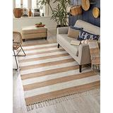 Unique Loom Chindi Rag Collection Hand Woven Striped Natural Fibers Beige Area Rug (7' 0 x 10' 0), Beige/tan