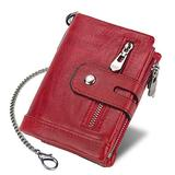 Earning Power Women Leather RFID Blocking Trifold Wallets, Double Zipper Coin Pocket Purse with Anti-Theft Chain Bikers Wallets (Red)