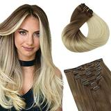 Clip in Human Hair Extensions hotbanana Ombre Ash Brown to Platinum Blonde Remy Human Hair Extensions Clip in Real Hair Extensions Clip on Natural Straight Clip Hair Extensions 14 Inch 120g 7pcs