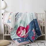 Pomco Mermaid Crib Bedding Set, 5PCS Cartoon Crib Baby Bedding Set-Includes Crib Comforter and Pillow Insert, Crib Duvet Cover, Fitted Sheet and Pillowcase, Animal Crib Bedding Set for Baby Boy Girl