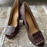 Nine West Shoes | *New* Peep Toe Brown Loafer Heels. Soooo Cute | Color: Brown | Size: 6.5