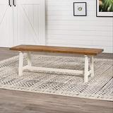 Walker Edison Rustic Solid Wood Entryway Room Bench Kitchen Table Set Dining Chairs, 60 Inch, Rustic Oak/White Wash