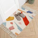 LIVEBOX Bath Rug Cotton Throw Rug,2' x 3' Hand Woven Area Rug with Tassel Abstract Colorful Geometric Cute Rug Indoor Mat for Laundry Bathroom Living Room