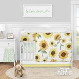 Sweet Jojo Designs Sunflower Boho Floral Baby Girl Nursery Crib Bedding Set - 5 Pieces - Yellow Green and White Farmhouse Watercolor Flower