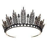 Minkissy Rhinestone Crown Glitter Black Vintage Tiara Wedding Hair Piece Party Decorations Headband for Women