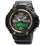 Digital Sports Watch 5ATM Waterproof Tactical Big Face Stopwatch Calendar Alarm PU Wrist Watch Military Watches for Men