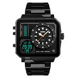 Men's Digital Watch LED Square Large Face Watches Stainless Steel Dual Time Stopwatch Analog Sports Watch for Men