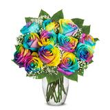 Flowers Delivery - Wild Rainbow Roses Flowers - One Dozen