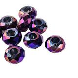 CHGCRAFT 100pcs Electroplate Glass European Beads Faceted Round Purple Beads Large Hole Beads Necklace Bracelet Beads for Jewelry Making