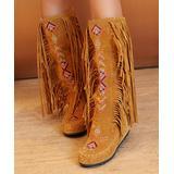 BUTITI Women's Casual boots yellow - Yellow Geometric Embroidered Fringe Boot - Women