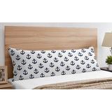 Sweet Jojo Designs Sailor Collection Anchor Print Microfiber Twill Pillowcase Microfiber/Polyester/Microfiber in Blue/Navy/White | Wayfair