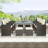 Mercury Row® Estey Outdoor Rattan Wicker Patio Dining Table Set, Garden Outdoor Patio Furniture Sets in, 11 Piece Glass/Wicker/Rattan in Black/Brown