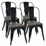 Costway 18 Inch Height Set of 4 Stackable Style Metal Wood Dining Chair-Black