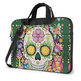 Colorful Floral Sugar Skull Green Laptop Bag 15.6 Inch Laptop Sleeve Case with Shoulder Straps & Handle/Notebook Computer Case Briefcase Compatible with MacBook/Acer/Asus/Hp