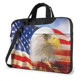 American Us Flag Patriotic Eagle Laptop Bag 15.6 Inch Laptop Sleeve Case with Shoulder Straps & Handle/Notebook Computer Case Briefcase Compatible with MacBook/Acer/Asus/Hp