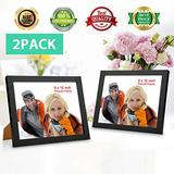 Flygogo 8x10 Picture Frame (Black 2 Pack) Picture Frames 8x10 Made of Solid Wood 8x10 Black Picture Frame for Table Display with HD Plexiglass Picture Frame 8x10 Black for Wall Mount without White Mat
