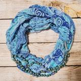 Anthropologie Accessories | Anthro Turquoise Beaded Pattern Infinity Scarf | Color: Blue/White | Size: Os