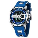 Mens Watches Digital LED Waterproof Sports Watches Chronograph Silicone Band Military Analog Quartz Watches Dual Movement Wrist Watches for Men Stopwatch Calendar Blue Watch