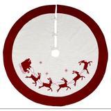 Transpac Santa & Reindeer Tree Skirt Polyester in Red/White, Size 48.0 W in   Wayfair Y4097ZU