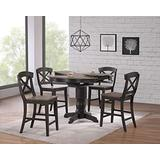 Iconic Furniture Company Counter Height 5-Piece Dining Set, Antiqued Grey Stone/Black Stone