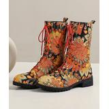 BUTITI Women's Casual boots yellow - Yellow & Pink Floral Combat Boot - Women