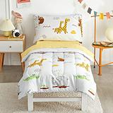 FlySheep 4 Piece White Toddler Bedding Set for Baby Girls and Boys, Cute Animals Printed - Includes Quilted Comforter, Flat Sheet, Fitted Sheet & Pillow Case, Soft Microfiber