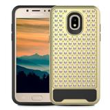 Samsung Galaxy J7 2018 Rubberized Dual Layered Star Diamond Pattern with Silicon Hybrid case, Gold/Black