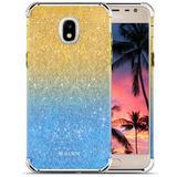 Samsung Galaxy J7 V 2nd Gen 2018 CLICK Elegant Series Slim Glitter Case with PC Metallic Bumper, Blue/Gold