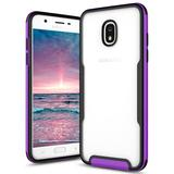 Samsung Galaxy J7 V 2nd Gen 2018 Click Cases Fuse Series Slim Dual Layered Dual Injected Case with Tempered Glass Screen Protector, Purple/Black