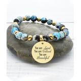 Pink Box Women's Bracelets Gold - Blue Agate & 14k Gold-Plated 'You Are Loved' Stretch Bracelet