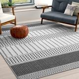 Mistana™ Krista Charcoal/Light Area Rug Polyester in Gray, Size 148.0 H x 110.0 W x 0.29 D in   Wayfair EA794F39EE4E4C56BE18CB067DEE0266