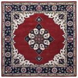 World Menagerie Cleaver Oriental Handmade Tufted Wool Red/Navy Blue Area Rug Wool in Blue/Red, Size 72.0 W x 0.75 D in   Wayfair