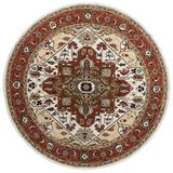World Menagerie Cityside Oriental Handmade Tufted Wool Ivory/Area RugWool in Red, Size 72.0 H x 72.0 W x 0.75 D in | Wayfair