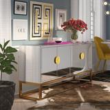"""Mercer41 Analea 64"""" Wide Buffet Table Wood/Metal in White/Yellow, Size 31.0 H x 64.0 W x 16.0 D in   Wayfair 9A2106CAE4C64B92AEEB6121D6F4FCE5"""