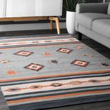 Foundstone™ Lindsay Southwestern Gray/Area Rug Cotton in Orange, Size 102.0 W x 0.25 D in | Wayfair 0D37408EB79F435E956F4D8B6DBBD639