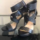 Jessica Simpson Shoes | Jessica Simpson Leather Cutout Sandal Heels | Color: Black | Size: 6.5