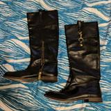 Coach Shoes | Coach Black Leather Knee High Riding Boots | Color: Black/Gold | Size: 8