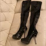 Gucci Shoes   Gucci Nappa Stretch Thigh High Platform Boots   Color: Black   Size: 9.5