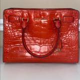 Michael Kors Bags | Michael Kors Womens Medium Zoe Croc-Emb | Color: Orange/Red | Size: 12.5 Inches Wide X 9 Inches Height