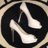 Michael Kors Shoes   Michael Kors White Pump With Metallic Silver Heel   Color: Silver/White   Size: 10