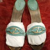 Gucci Shoes | Gucci Kitten Heel Clogs | Color: Green | Size: 10