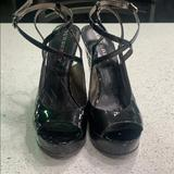 Burberry Shoes   Burberry Peep Toe Wedge Patent Leather Heel   Color: Black   Size: 8