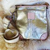 Coach Bags   Coach Metallic Gold Leather Mini Cross Body Bag   Color: Gold/Tan   Size: Os